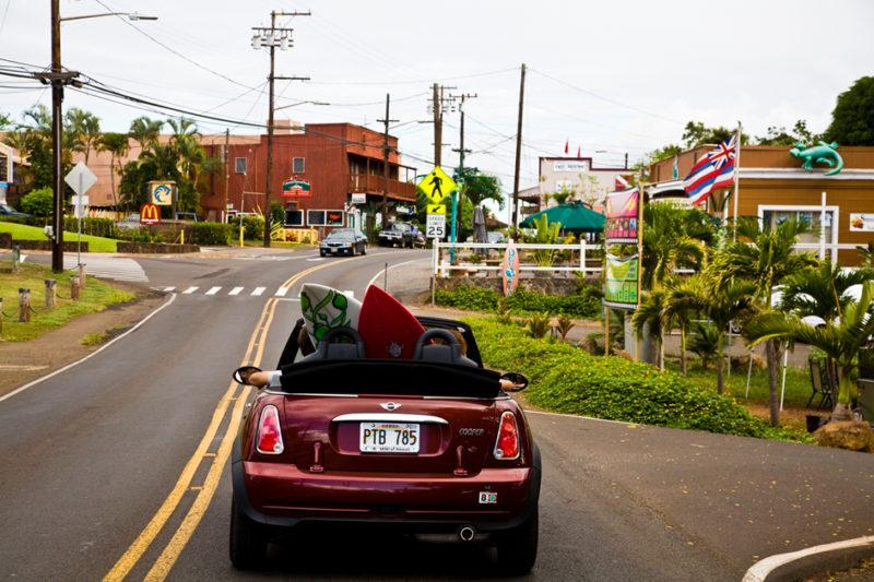 Oahu car rental: Driving through Haleiwa. Hawaii travel. Things to do in Oahu. Things to do in Hawaii.