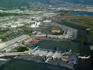 Aerial view of Honolulu International Airport. Hawaii travel. Things to do in Hawaii.