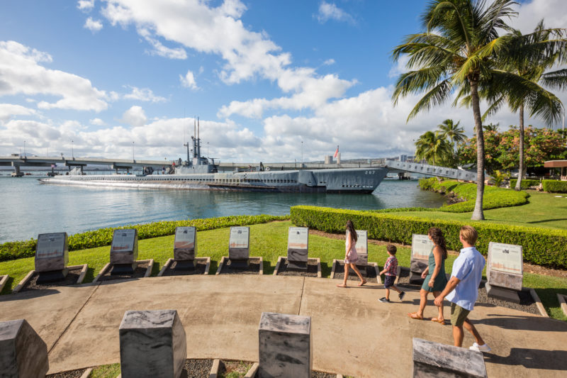 Memorial placards at Pearl Harbor and the USS Bowfin.