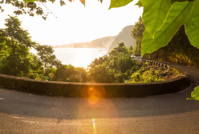 One of the many hairpin turns on the road to Hana.
