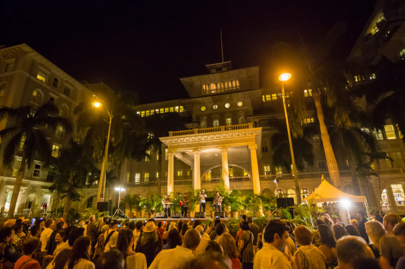 Aloha Festival performance at the Moana Surfrider.
