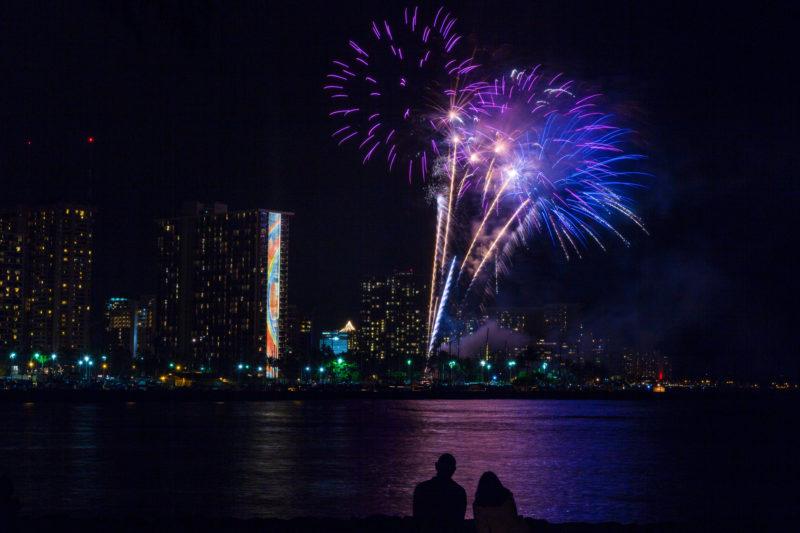 Hilton fireworks in Waikiki.