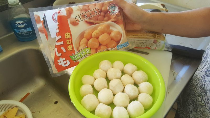 Frozen taro balls are easier than real taro in nishime.