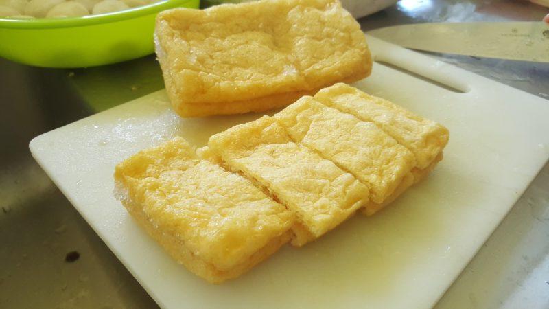 Fried tofu skin in nishime.