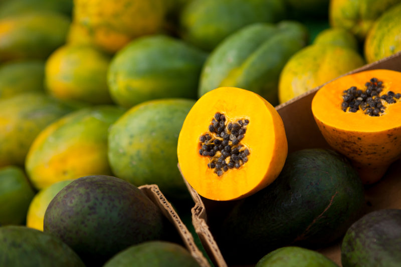 A papaya and its seeds