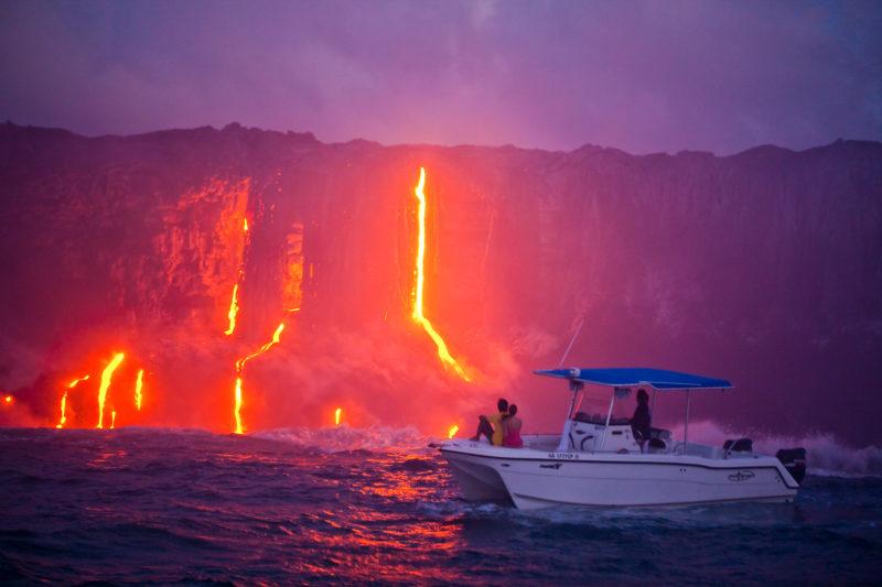 Lava flow at sunset.