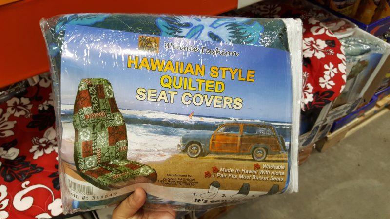 Hawaiian-print car seat covers.