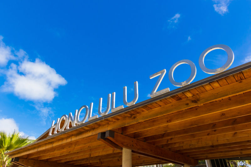 The Honolulu Zoo entrance.
