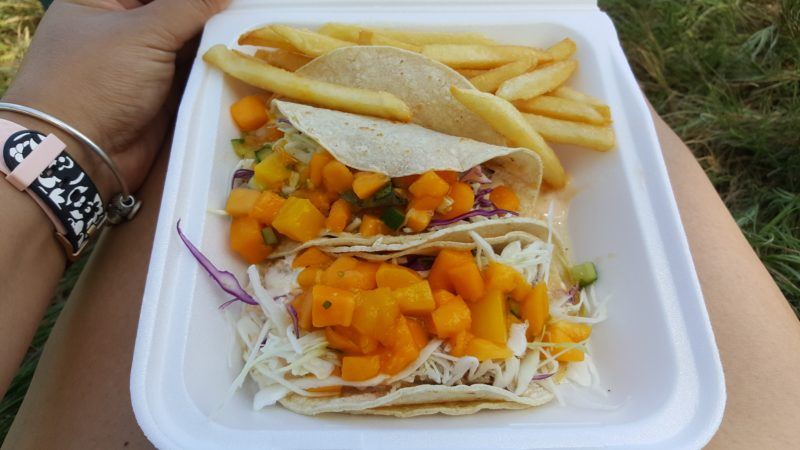 Fish tacos with mangos.