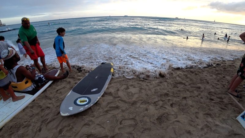 Kahanamoku Beach in Waikiki for the Duke Kahanamoku surfing contest.