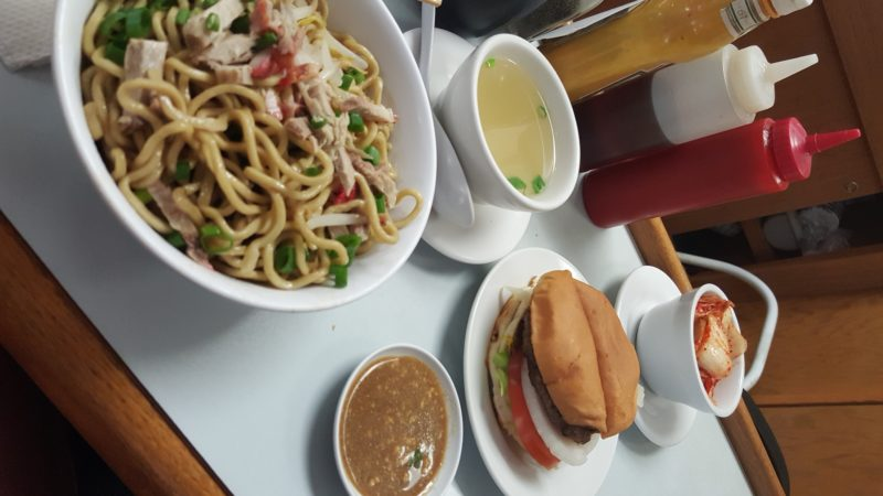 My meal at Sam Sato's complete with dry noodles and a burger!