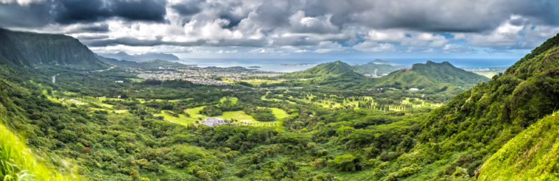Nuuanu Pali lookout panoramic shot.