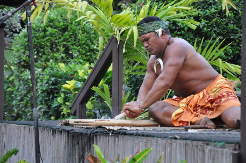 Polynesian Cultural Center making fire demonstration.