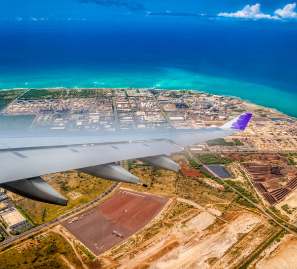 Arriving at Honolulu airport.