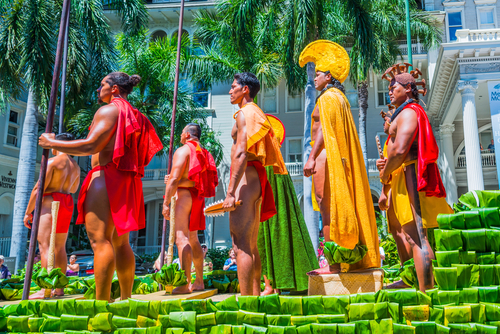 The Kamehameha Day Parade is where you'll see important figures of Hawaii, celebrities, hula dancers, musicians, and other local groups celebrating King Kamehameha I. Editorial credit: G Ward Fahey / Shutterstock.com