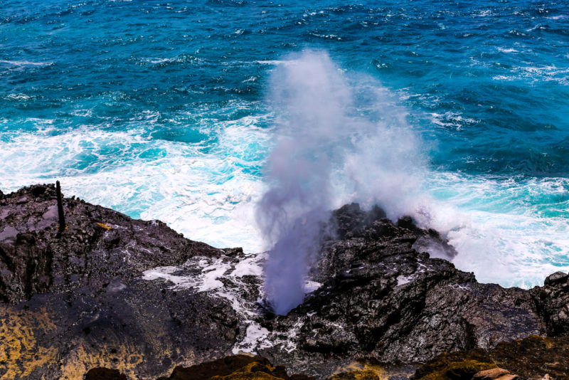 Halona blowhole with big waves.