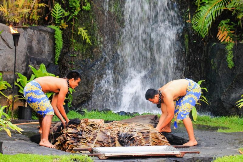 Polynesian Cultural Center preparing kalua pig.