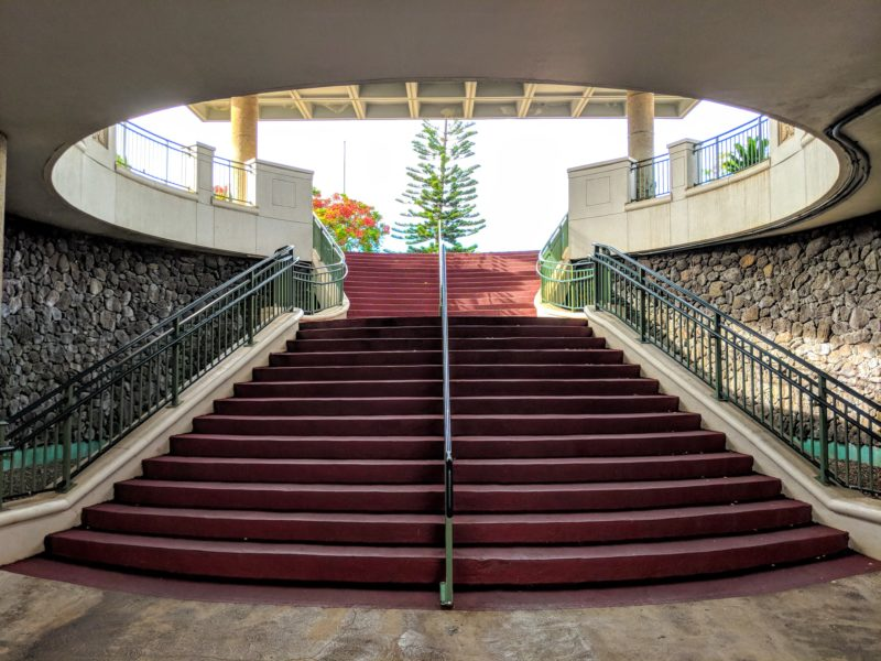 The Best Lookout For Pearl Harbor Ships Is At Leeward Community College - The central staircase at LCC.