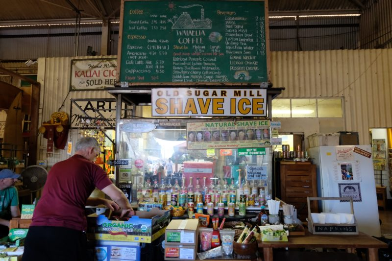 One highlight you shouldn't miss at the old Waialua sugar mill is the all-natural shave ice. It's one-of-a-kind!
