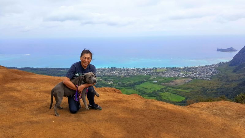 Mom and Daisy on the top of Kuliouou.
