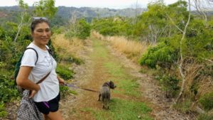 Mom and Daisy on their way back to the car on Manana trail.