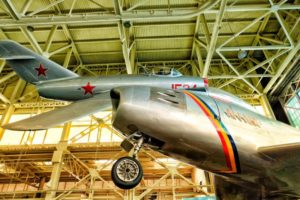 Pacific Aviation Museum's Russian-made Mig-15 and F-86 Sabre. Huge rivals!