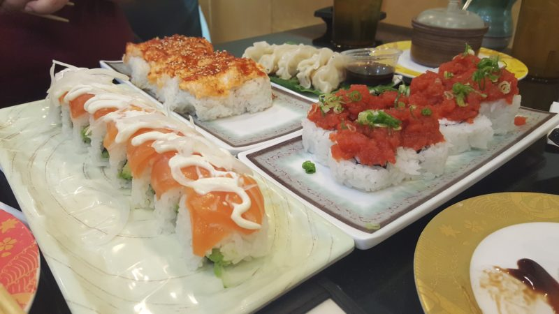 "Our ""fancy sushi"" minus a couple of conveyor belt plates at Kazoku Sushi."