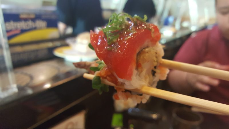 A bite of Kazoku Sushi's red dragon roll before it disappeared.