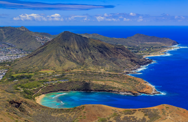 Hot and dry Koko Head from the sky.