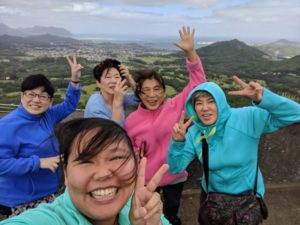 Having fun at Nuuanu Pali Lookout