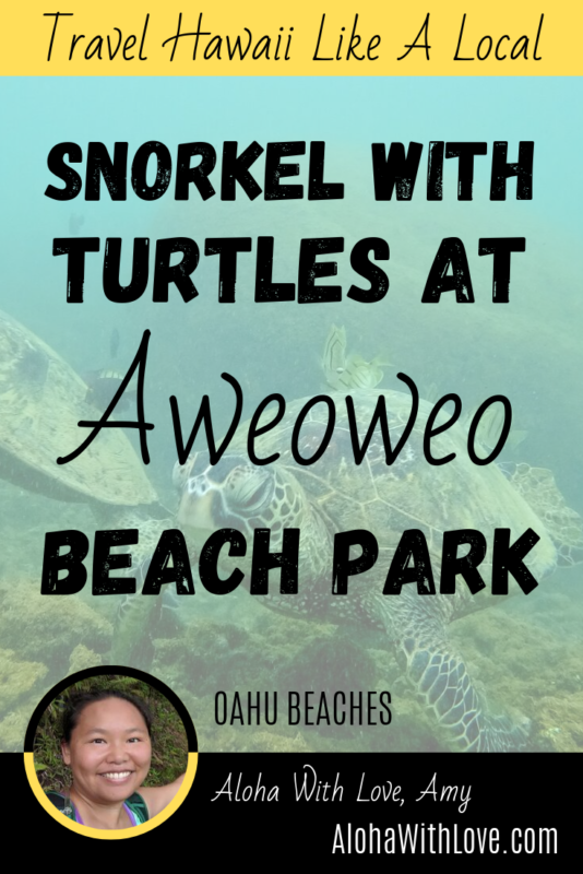Travel Hawaii Like A Local Aweoweo Beach Park is secluded and a great place for families and parties. The best part is the snorkeling! While there are very few fish, there are usually lots of turtles. Aloha with love, Amy Hawaii Travel Blogger at AlohaWithLove.com