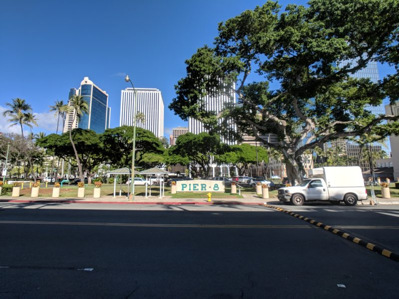 Parking lot in front of Aloha Tower Marketplace.