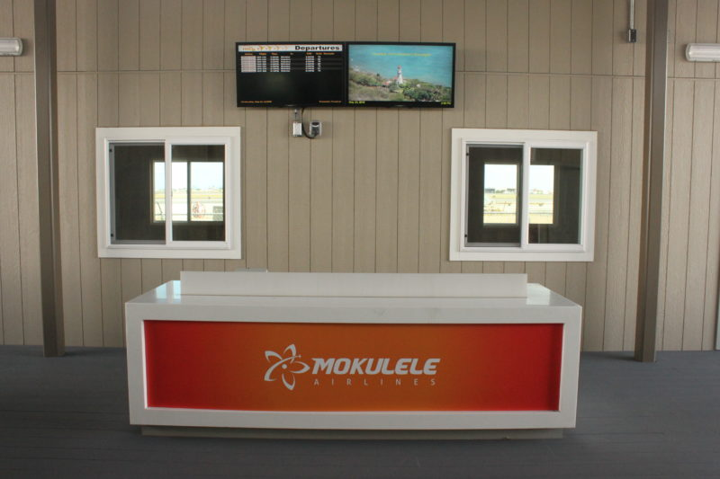 Mokulele Airlines counter in Terminal 3, Honolulu International Airport.
