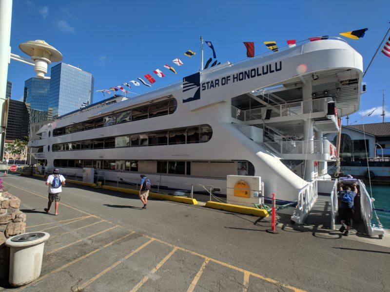The Star of Honolulu docks right next to the Aloha Tower Marketplace.