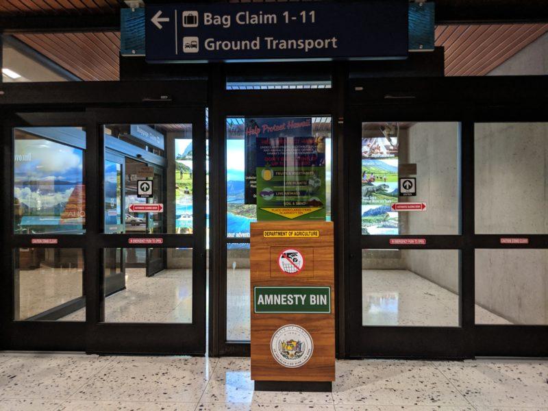 Amnesty bin at Honolulu International Airport.