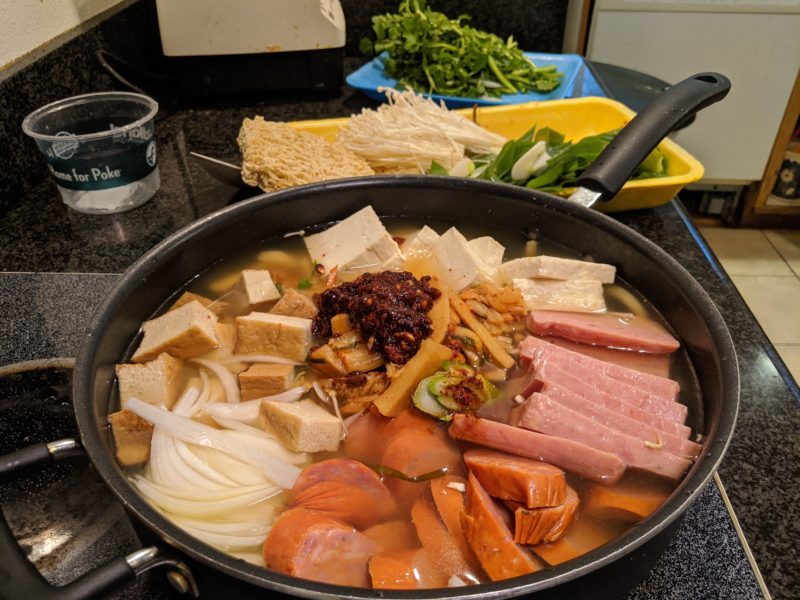 The first layer for the budae jjigae.