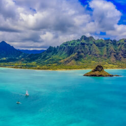 Aerial view of Chinaman's Hat in Oahu.