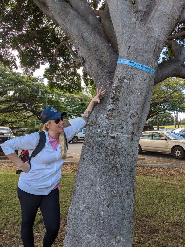 Jay pointing out a tree with a nesting Manu o Ku. Mom has good eyes!