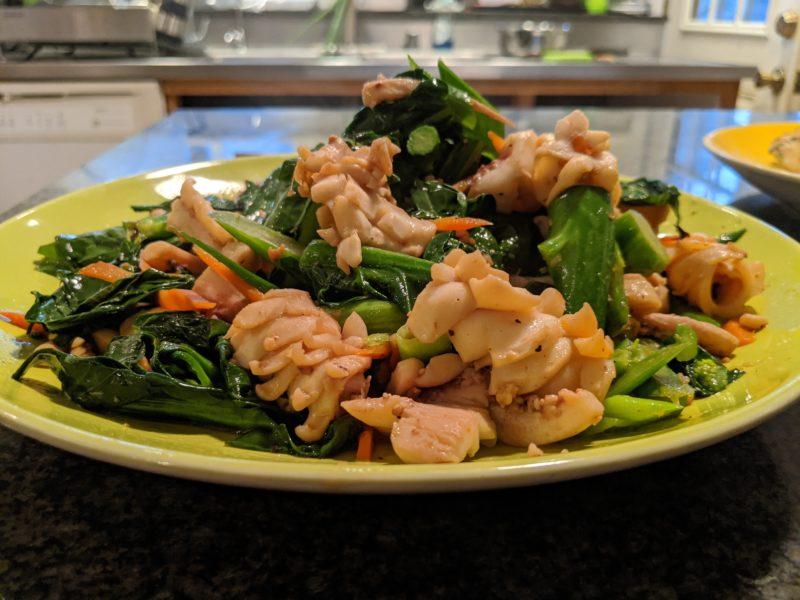 Blooming squid stir fry