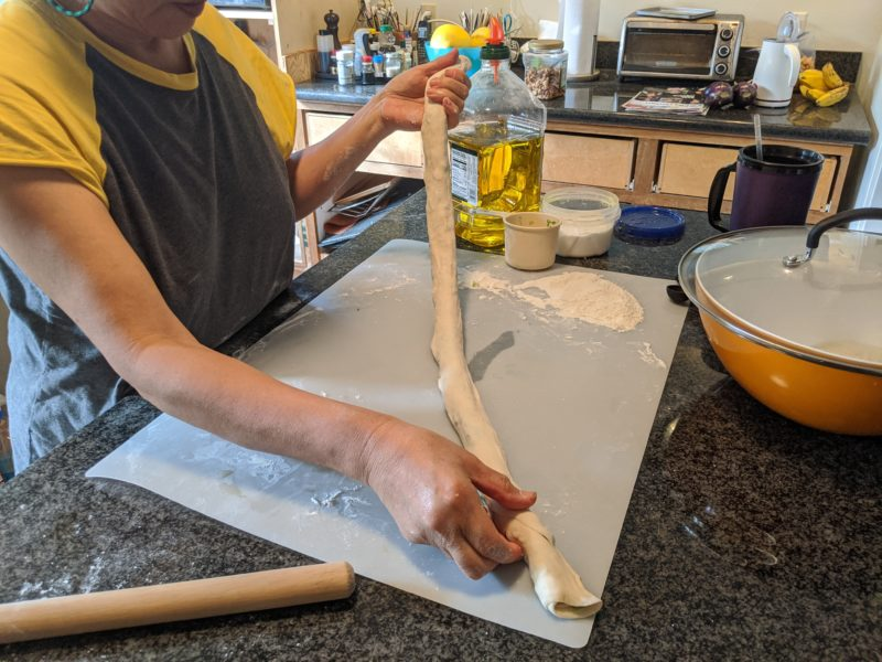 Squeeze the tube to get most of the air out and to create flaky layers.