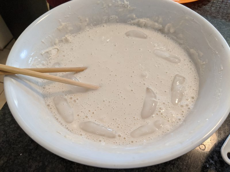 Ice water is the key in order for the batter to be thick and clumpy.