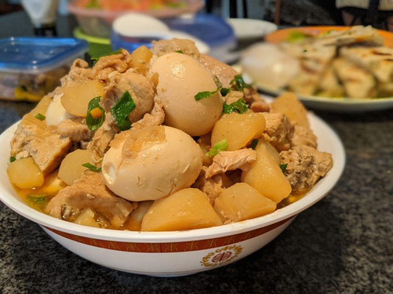 Shoyu chicken with potatoes and eggs