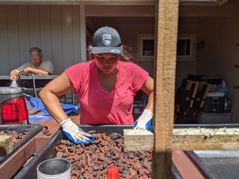 Making sure all 6 grow beds have an equal amount of lava rock.