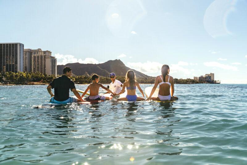 Family surf lesson in Waikiki.