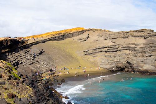 Hiking to Papakolea Beach (Green Sand Beach) on the Big Island.