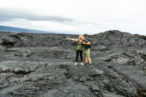 Hiking on a lava field on the Big Island of Hawaii.