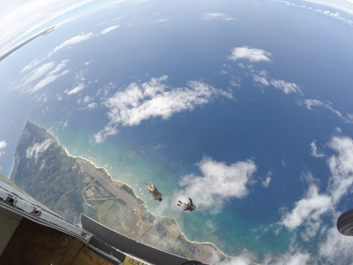 Skydiving above North Shore, Oahu.