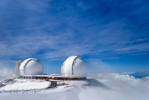 Mauna Kea and its telescopes after a snowfall on the Big Island of Hawaii.