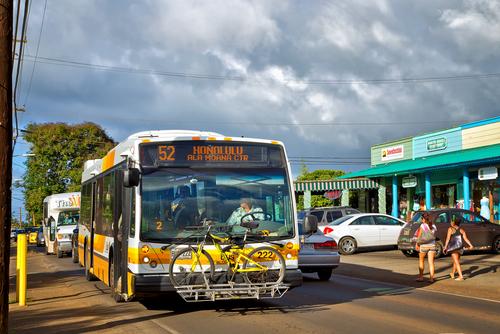 The Bus on Kamehameha Highway (HI 83) in Haleiwa headed back toward Honolulu. Editorial credit: PomInOz / Shutterstock.com