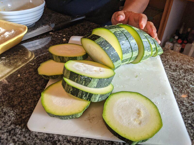 Cocozelle zucchini slices.